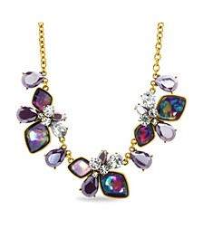 Rhinestone and Lucite Cluster Necklace in Yellow Gold-Tone Alloy