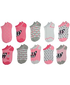 Pickle Dot Baby Girl's 10-Pack Frenchie No Show Cushion Socks