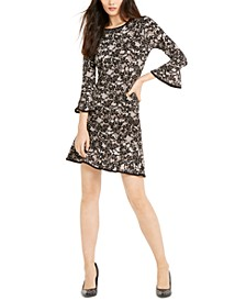 Lace-Print Bell-Sleeve Dress, Regular & Petite