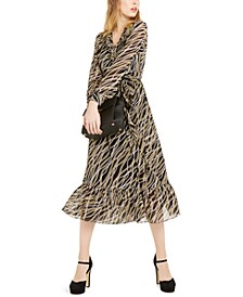 Chain-Print Wrap Dress