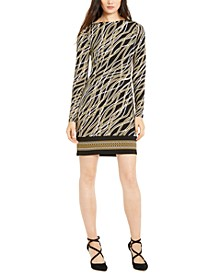 Printed Long-Sleeve Sheath Dress, Regular & Petite