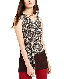 Lace-Trimmed Tie-Front Top, Regular & Petite