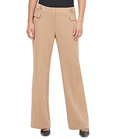 Button-Tab Wide-Leg Pants