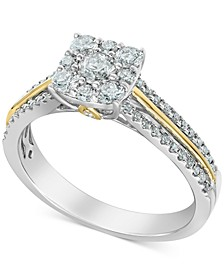 Diamond Cluster Two-Tone Statement Ring (3/4 ct. t.w.) in 14k Gold & 14k White Gold