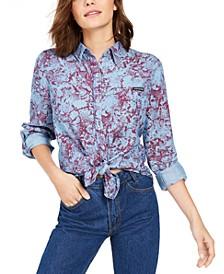 Tencel Snake-Print Button-Down Shirt