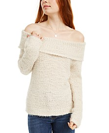 Juniors' Off-The-Shoulder Fuzzy Sweater