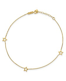 """Star Anklet with Adjustable 1"""" Ext. in 14k White and Yellow Gold"""