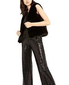 Sequined Jumpsuit & Faux-Fur Vest
