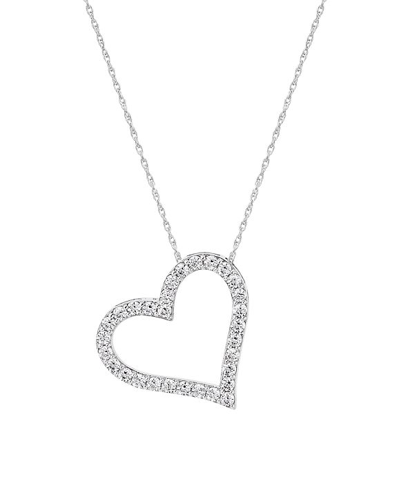 Macy's 241 WEAR IT BOTH WAYS Diamond Heart Pendant Necklace (1/2 ct. t.w.) in 14k White, Yellow or Rose Gold