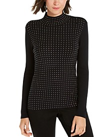 INC Iridescent-Studded Mock-Neck Sweater, Created for Macy's