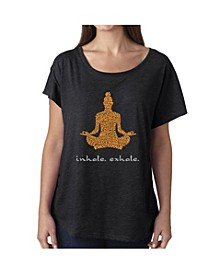 Women's Dolman Cut Word Art Shirt - Inhale Exhale