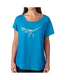 Women's Dolman Cut Word Art Shirt - Dinosaur T-Rex Skeleton