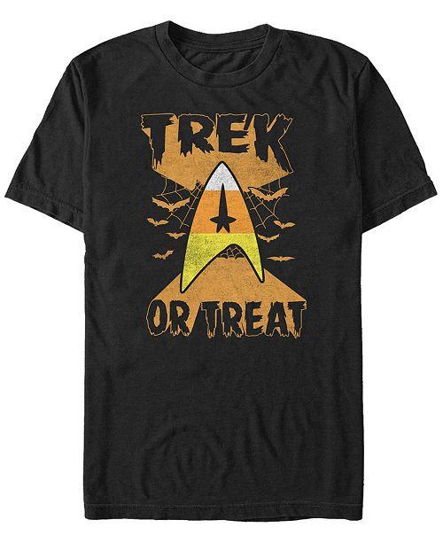 Fifth Sun Star Trek Men's Trek or Treat Candy Corn Badge Halloween Short Sleeve T-Shirt