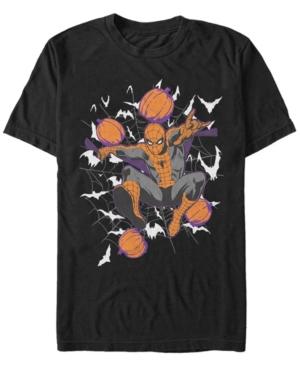 Marvel Men's Spider-Man Halloween Pumpkin Spider Webs Short Sleeve T-Shirt