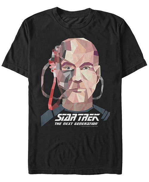 Fifth Sun Star Trek Men's Captain Picard Geometric Borg Big Face Short Sleeve T-Shirt