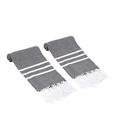 Essential Trio Stripe Turkish Hand/Kitchen Towel Set of 2