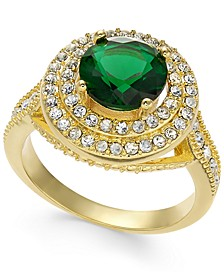 Green Stone & Crystal Halo Ring, Created For Macy's