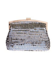 Navy Pin Stripe Sequin Pouch Clutch