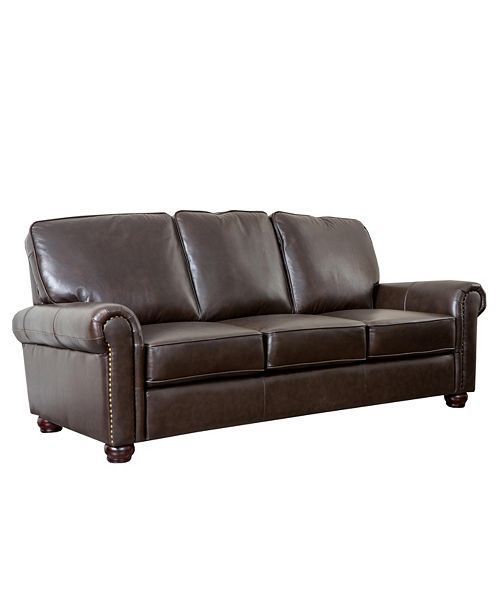 "Furniture Shirin 86"" Leather Sofa"