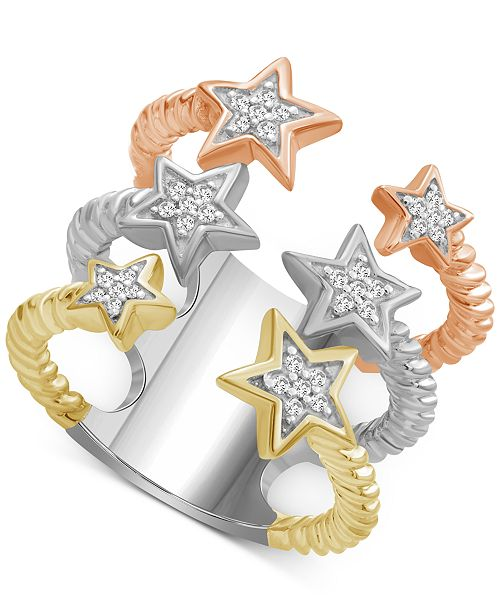 Macy's Diamond Star Cuff Statement Ring (1/6 ct. t.w.)in Sterling Silver & Rose Gold & Gold over Sterling Silver