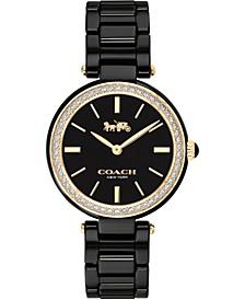 Women's Park Black Ceramic Bracelet Watch 30mm