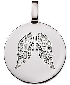 Swarovski Zirconia Reversible Angel Wing Charm Pendant in Sterling Silver