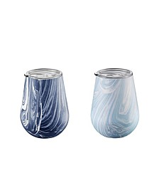 Navy and Light Blue Swirl 14 oz Tumblers - Set of 2
