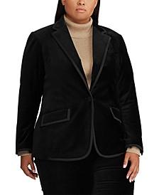 Plus Size Velvet Blazer