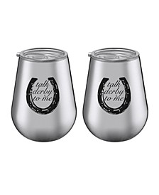 "14 oz Stainless Steel ""Talk Derby to Me"" Tumblers - Set of 2"