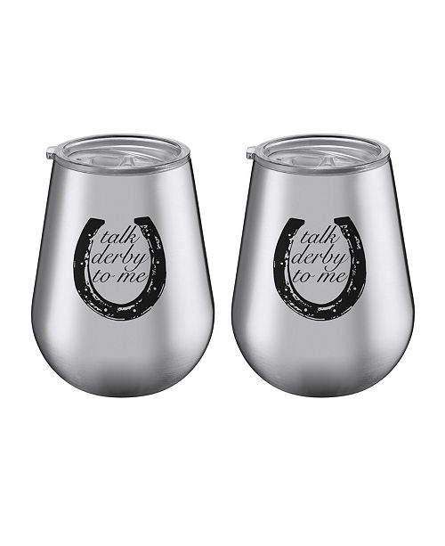 """Thirstystone 14 oz Stainless Steel """"Talk Derby to Me"""" Tumblers - Set of 2"""