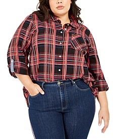 Plus Size Plaid Button-Front Roll-Tab-Sleeve Cotton Top