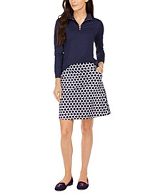 Long-Sleeve Polo Shirt and Circle Print A-Line Skort, Created for Macy's