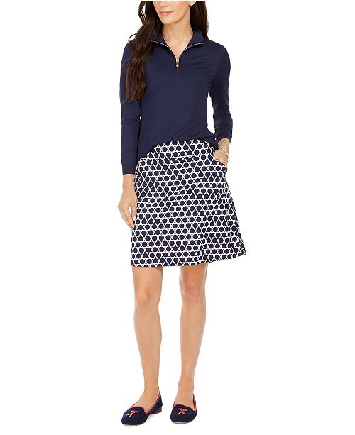 Charter Club Long-Sleeve Polo Shirt and Circle Print A-Line Skort, Created For Macy's