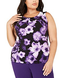 Plus Size Sleeveless Floral Pleat-Neck Top