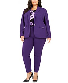 Plus Size One-Button Blazer, Sleeveless Printed Pleat-Neck Top & Highline Skinny Pants