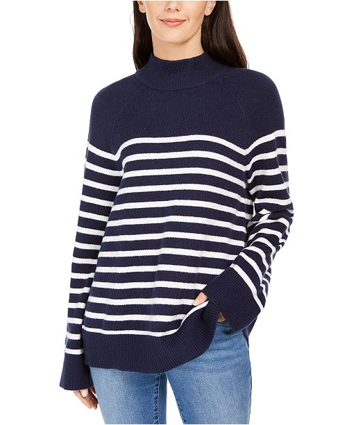 Charter Club Striped Mockneck Sweater, Created For Macy's