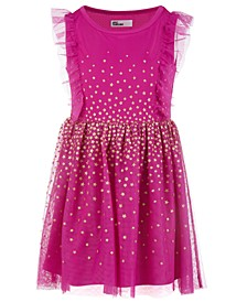 Little Girls Glitter Stars Mesh Dress, Created For Macy's