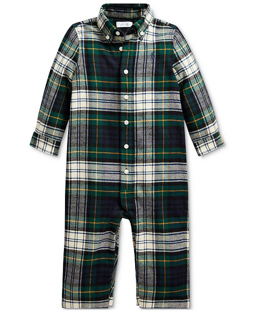 Polo Ralph Lauren Baby Boy Plaid Cotton Twill Coverall