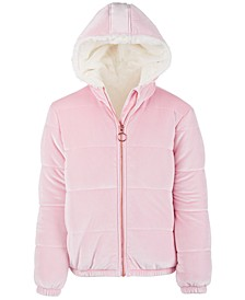 Big Girls Velvet Puffer Jacket, Created For Macy's