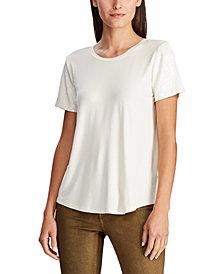 Lauren Ralph Lauren Petite Jersey Sequin-Sleeve Shirt