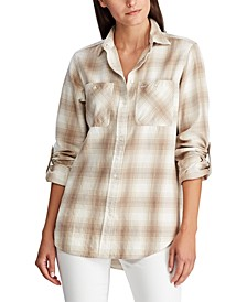 Petite Plaid Roll-Tab-Sleeve Shirt