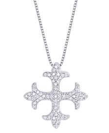 Diamond 1/3 ct. t.w. Maltese Cross Pendant Necklace in Sterling Silver