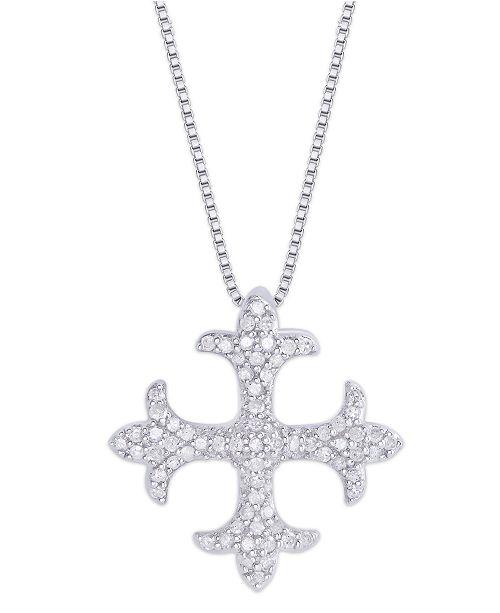 Macy's Diamond 1/3 ct. t.w. Maltese Cross Pendant Necklace in Sterling Silver