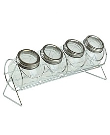 HDS Trading Sleek Spice Rack with 4 Air-Tight Glass Spice Jars