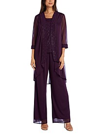 3-Pc. Glitter-Embellished Pantsuit
