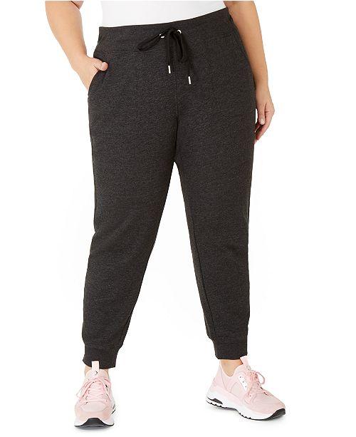 Calvin Klein Plus Size Rib-Trim Jogger Pants
