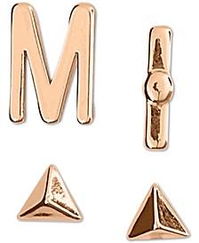 Rose Gold-Tone 4-Pc. Set Initial Mismatch Stud Earrings