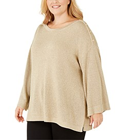 Plus Size Button-Shoulder Metallic Sweater