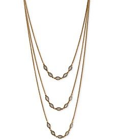 """Gold-Tone Pavé & Mother-of-Pearl Convertible Layered Necklace, 17""""+ 3"""" extender"""