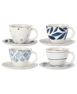 Blue Bay  Set/4  Assorted Espresso Cup and Saucer